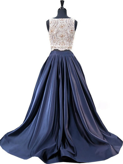 Two Piece Prom Dress Simple Modest Elegant African Chic Long Prom Dress # VB1495
