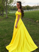 Chic Yellow Prom Dress Simple Modest Off The Shoulder Cheap Long Prom Dress # VB1509