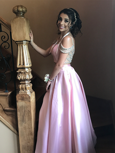 Two Piece Prom Dress Simple Modest Elegant Cheap Pink Long Prom Dress #VB1513