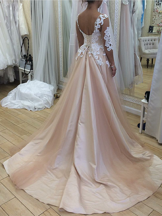 Chic Champagne Prom Dress Simple Modest Simple Beautiful Cheap Long Prom Dress # VB1515