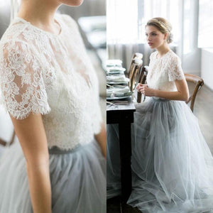 Two Piece Prom Dress Simple Modest Elegant Lace Cheap Long Prom Dress #VB1526