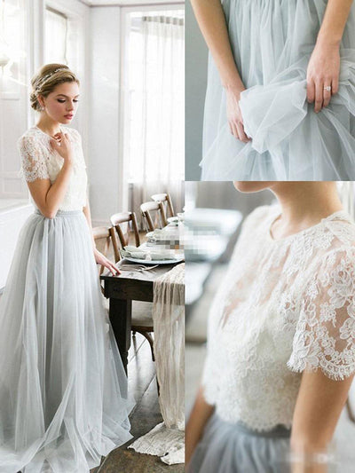 26551df5745 Two Piece Prom Dress Simple Modest Elegant Lace Cheap Long Prom Dress   VB1526