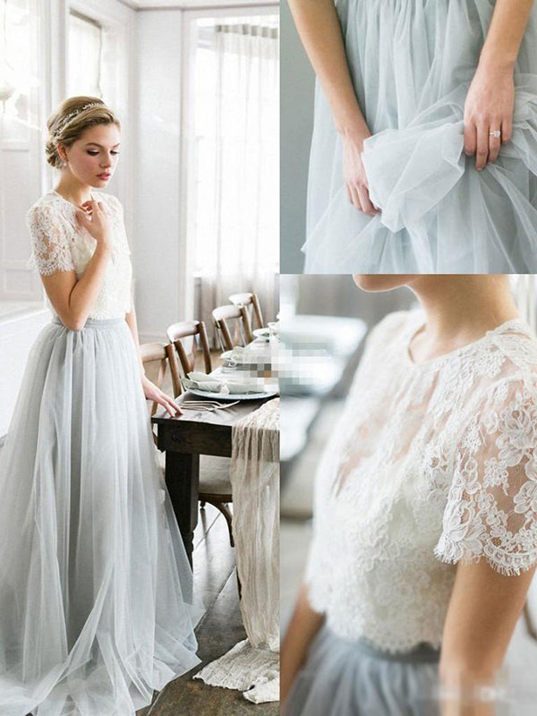 Two Piece Prom Dress Simple Modest Elegant Lace Cheap Long Prom Dress Vb1526