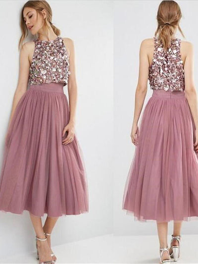 2018 Two Piece Prom Dress Modest Cheap Unique Long Prom Dress #VB1537 - DemiDress.com
