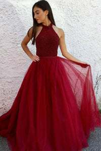 Burgundy Cheap Prom Dress Simple Modest Elegant Long Prom Dress #VB1542