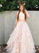Two Piece Prom Dress Simple Modest Elegant Cheap A Line Long Chiffon Prom Dress #VB1550