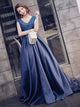 2018 Chic Prom Dress Simple Modest A Line Cheap Long V-neck Prom Dress #VB1552 - DemiDress.com