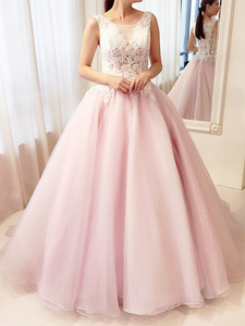Chic A Line Prom Dress Simple Modest Elegant Cheap Pink Long Prom Dress #VB1558
