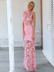 Chic Pink Prom Dress Simple Modest Elegant Cheap Lace Long Prom Dress #VB1560
