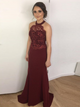 Burgundy Prom Dress Simple Modest Long Cheap Lace Mermaid Prom Dress #VB1562