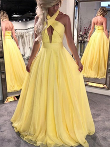 Chic A Line Prom Dress Simple Yellow Long Cheap Prom Dress #VB1567