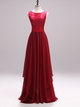 Burgundy A Line Prom Dress Simple Modest Long Cheap Lace Chiffon Prom Dress #VB1568