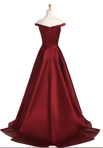 Chic A Line Burgundy Prom Dress Modest Off The Shoulder Cheap Long Prom Dress #VB1631