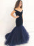 Mermaid Prom Dress With Sleeves Simple Modest Long Cheap Off The Shoulder Prom Dress #VB1571