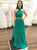 2018 Two Piece Prom Dress Simple Cheap A Line Long Green Prom Dress #VB1572 - DemiDress.com
