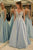 2018 Chic A Line Prom Dress With Sleeves Modest V Neck Long Prom Dress #VB1574 - DemiDress.com