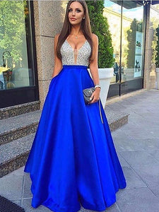 V Neck Prom Dress Simple Modest Long Cheap A Line Prom Dress #VB1575