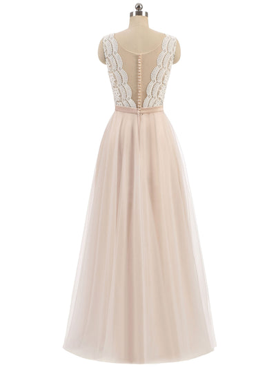 2018 Chic A Line Prom Dress Modest Champagne Cheap Long Prom Dress #VB1579