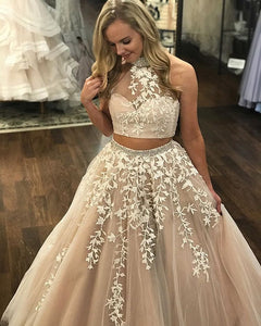 Two Piece Champagne Prom Dress Lace A Line Long Cheap Prom Dress #VB1583