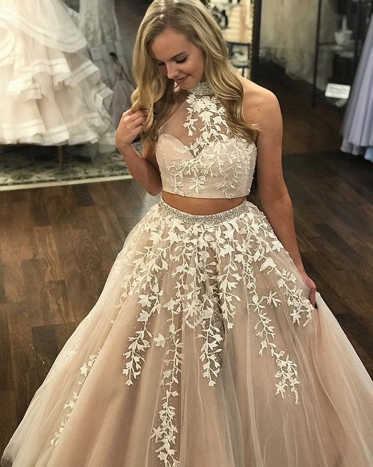 Two Piece Prom Dress Lace A Line Long Cheap Prom Dress #VB1583 ...