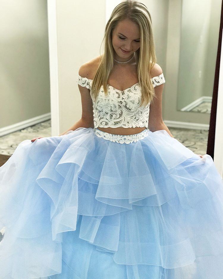 fb1974f5509 Off The Shoulder Two Piece Prom Dress With Sleeves A Line Long Prom Dress   VB1585