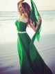 2018 Chic A Line Prom Dress Modest Green Cheap Long Chiffon Prom Dress #VB1591 - DemiDress.com