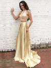 2018 Two Piece Prom Dress A Line Gold Long Cheap Prom Dress #VB1592 - DemiDress.com