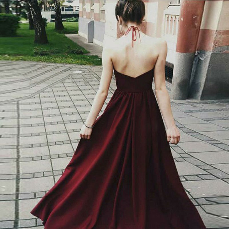 Chic A Line Burgundy Prom Dress Modest Cheap Long Chiffon Lace Prom Dress #VB1593