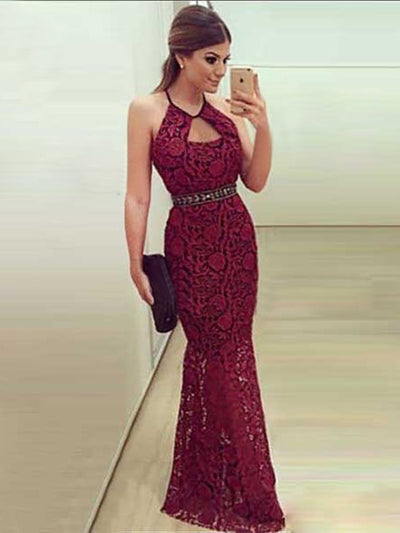 Burgundy Prom Dress Modest Cheap Long Lace Simple Mermaid Prom Dress #VB1596