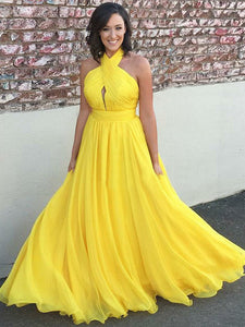 Yellow Chiffon Prom Dress Modest Beautiful A Line Long Cheap Prom Dress #VB1602