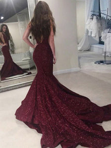 Burgundy Mermaid Prom Dress Modest Beautiful  Unique Lace Long Prom Dress #VB1603