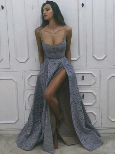 Unique A Line Prom Dress Modest Beautiful Lace Long Cheap Prom Dress #VB1607
