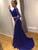 Two Piece Prom Dress With Sleeves Elegant Long Cheap Mermaid Lace Prom Dress #VB1611