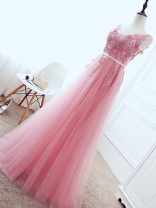 Chic A Line Pink Prom Dress Modest Straps Cheap Long Prom Dress #VB1614