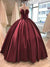 Burgundy Ball Gown Prom Dress Modest  Simple Cheap Long Prom Dress #VB1615