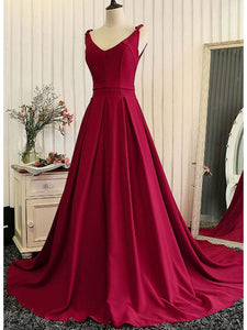 Chic A Line Burgundy Prom Dress Modest Beautiful Floral Cheap Long Prom Dress #VB1624