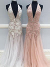 2018 Prom Dress Modest Beautiful Pink V Neck Long Prom Dress #VB1626 - DemiDress.com