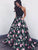 Chic A Line Prom Dress Modest Beautiful Black Floral Cheap Long Prom Dress #VB1627