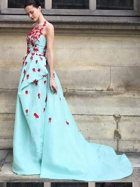 2018 A Line Prom Dress Modest Beautiful Floral Cheap Long Prom Dress #VB1628