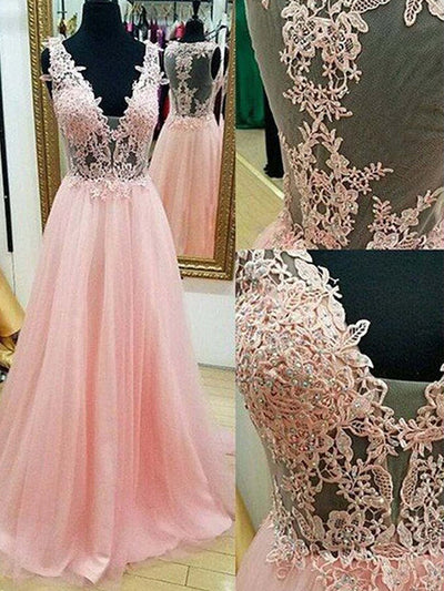 2018 A Line Prom Dress Modest Beautiful Pink V Neck Cheap Long Prom Dress #VB1629 - DemiDress.com