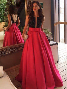Chic Red Prom Dress Modest Simple Cheap Long Prom Dress #VB1644
