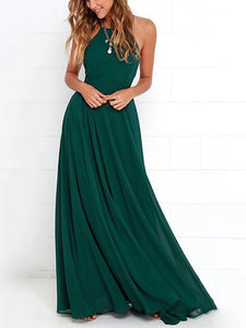 A Line Green Prom Dress Modest Simple Cheap Long Prom Dress #VB1645