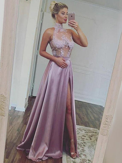 Chic A Line  Prom Dress Modest Lace Cheap Long Prom Dress #VB1663