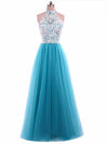 Chic A Line Prom Dress Modest Beautiful Blue Lace Cheap Long Prom Dress #VB1665