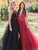 Chic A Line Burgundy Prom Dress Modest Beautiful Black Cheap Long Prom Dress #VB1668