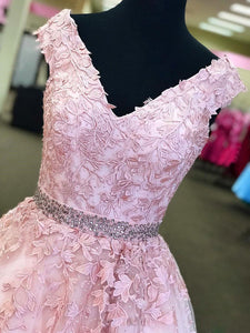V Neck Pink Prom Dress Modest Simple Cheap Long Lace Prom Dress #VB1680