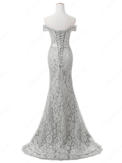 Chic Mermaid Prom Dress Modest Silver Lace Cheap Long Prom Dress #VB1684