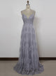 Chic A Line Prom Dress Modest Beautiful Lace Cheap Silver Long Prom Dress #VB1688