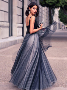 2018 A Line Prom Dress Modest Beautiful Black Cheap Long Prom Dress #VB1691 - DemiDress.com