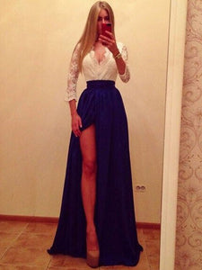 Chic A Line Prom Dress Modest V Neck Simple Lace Cheap Long Prom Dress #VB1701